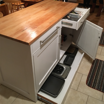 Kitchen Island with Pan Drawer