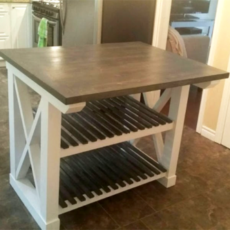 X-Base Kitchen Island with Shelving
